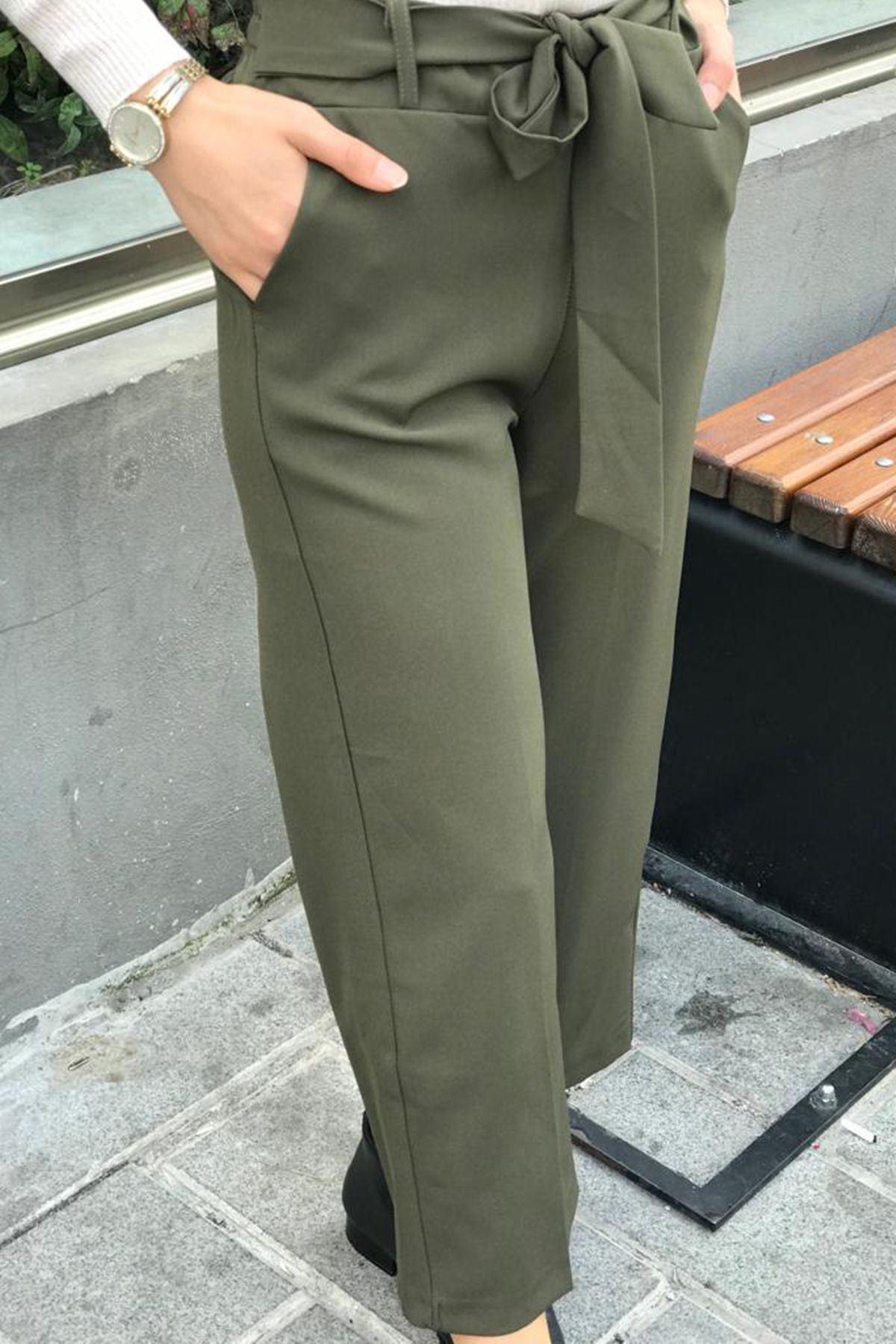Beli Lastikli Bol Paça Pantolon - Haki