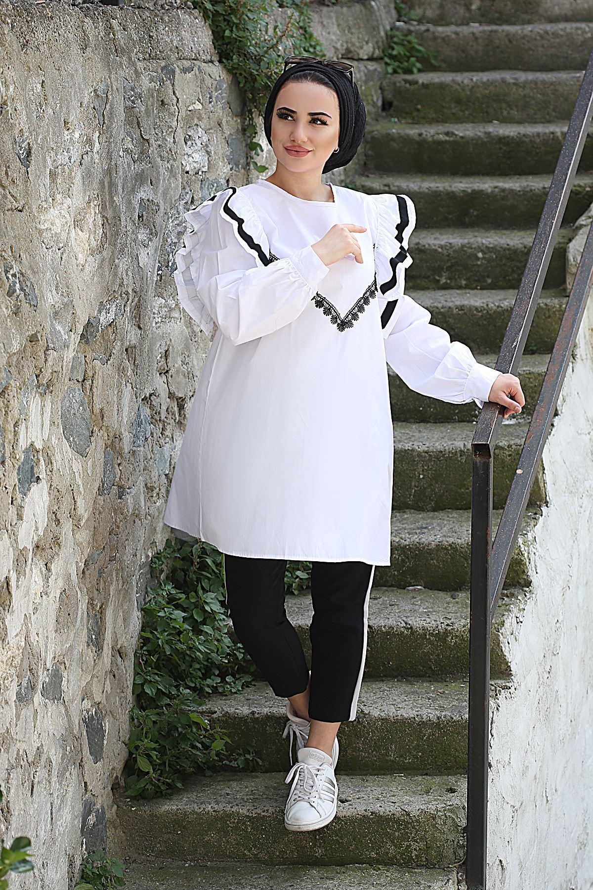 Ahenk Fırfır Detaylı Tunik Gömlek - Beyaz