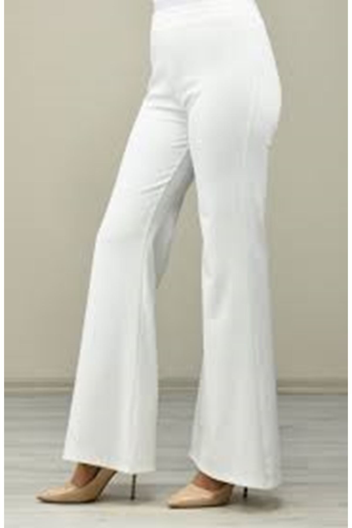 Likralı İspanyol Paça Pantolon- Beyaz