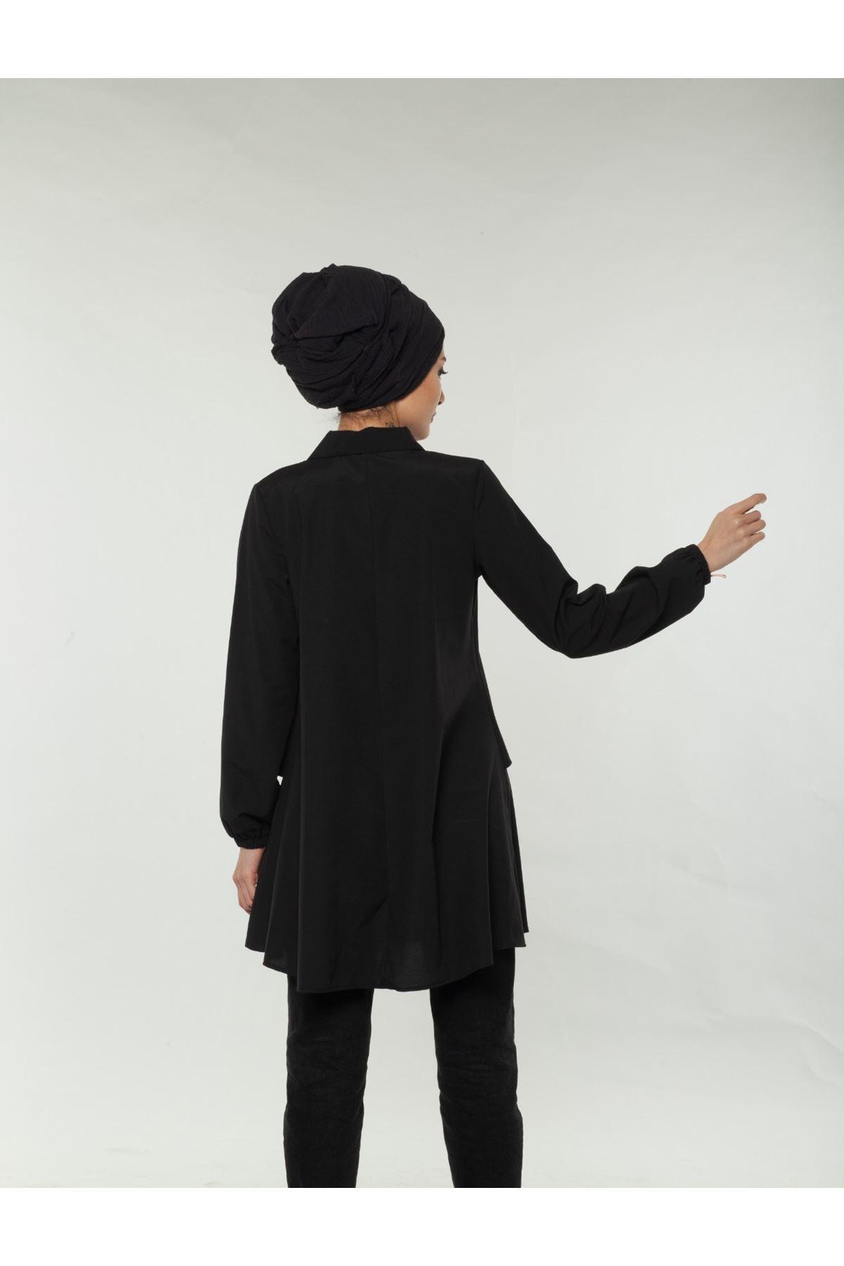 Fermuar detaylı Çift Katlı Tesettür Mevlana Gömlek  - Siyah
