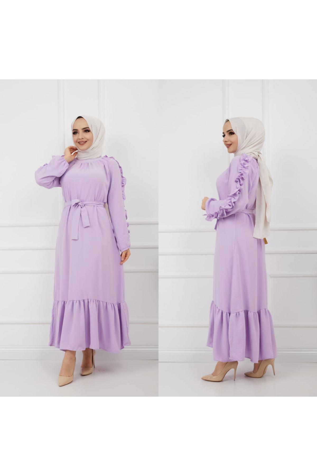 Kolları Fırfırlı Elbise - Lila