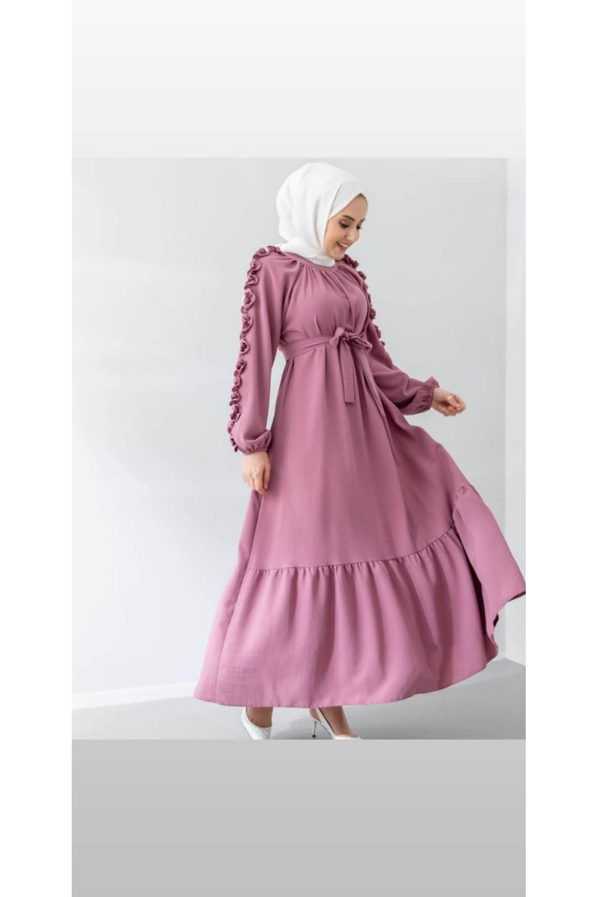 Kolları Fırfırlı Elbise - Gulkurusu